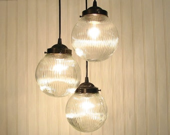 Cary's Mill III. Clear Holophane CHANDELIER Trio