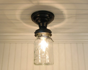 Single Vintage Canning Jar Ceiling LIGHT