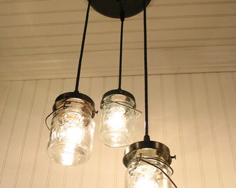 Mason Jar CHANDELIER Vintage Pints