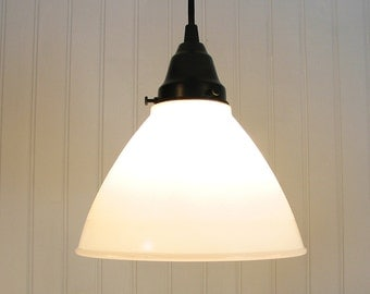 Calais II. Vintage Milkglass Globe PENDANT Light