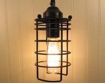 Auburn.  Industrial Inspired Pendant LIGHT with Edison Bulb