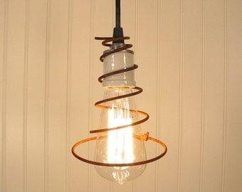 Vintage Industrial PENDANT Mix Media LIGHT with Edison Bulb