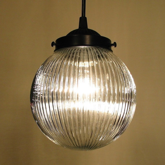 Cary's Mill. Clear Holophane PENDANT Light