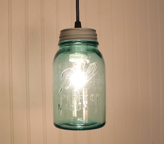 Vintage BLUE BALL Canning Jar PENDANT Created NEW