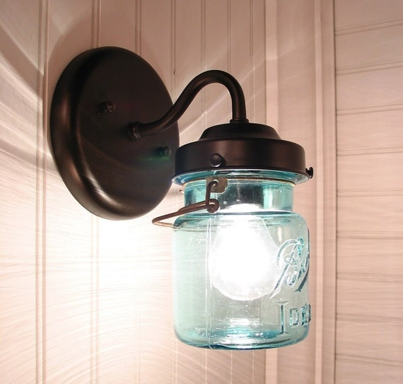vintage blue ball canning jar sconces created new. Black Bedroom Furniture Sets. Home Design Ideas