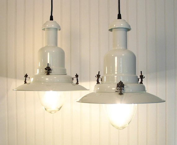 Houlton. PAIR White Enamel NEW ENGLAND PENDANTS  and Canning Jar Lamp For CORINNA