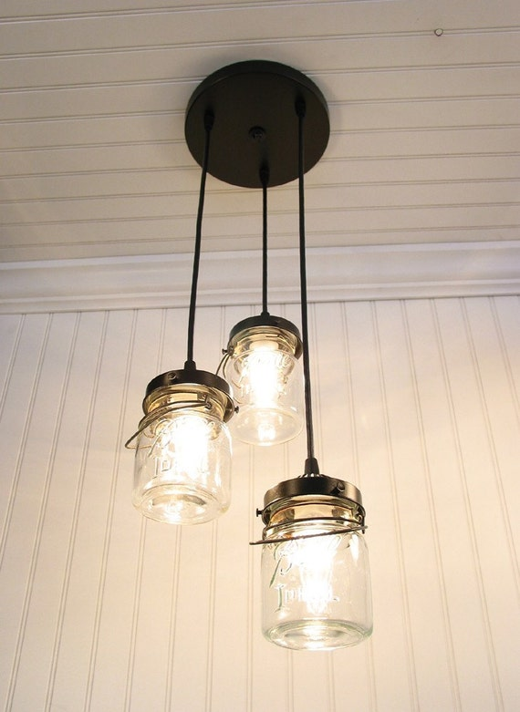 Vintage Clear Canning Jar CHANDELIER Created NEW