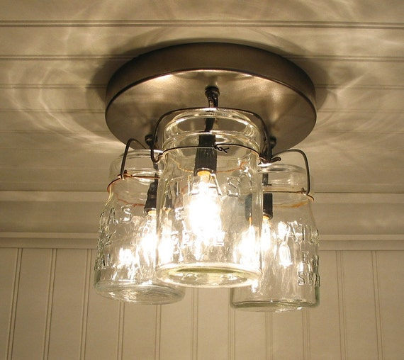Vintage Canning Jar CEILING LIGHT Created NEW By LampGoods