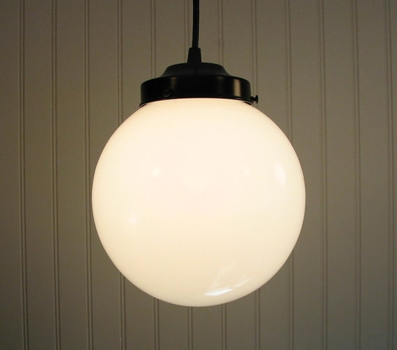 Winterport. Milk Glass PENDANT Light Large Globe