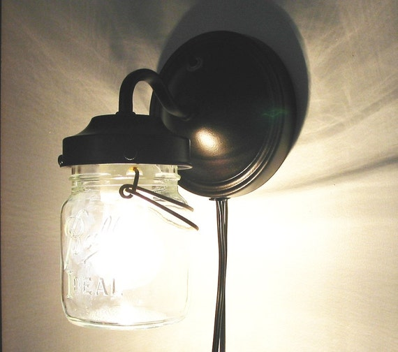 Vintage Plug In Wall Sconces : Vintage PLUG IN Clear Canning Jar Sconce by LampGoods on Etsy