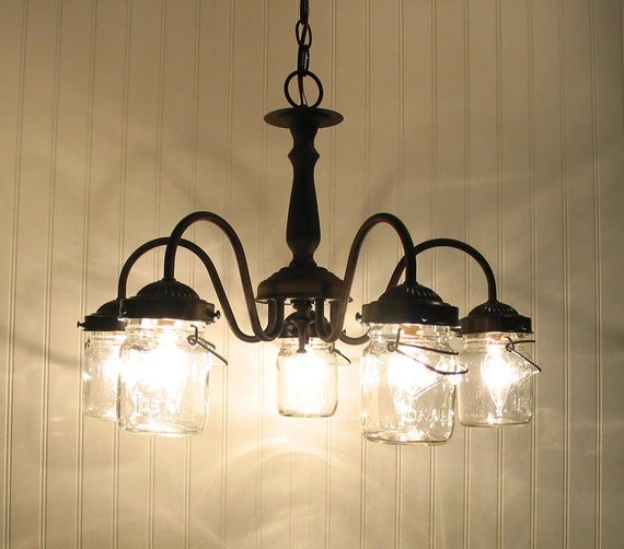 FIVE Vintage Canning Jar CHANDELIER Light By LampGoods On Etsy