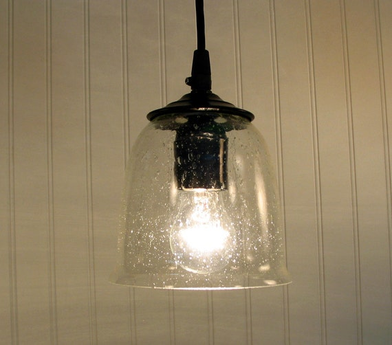 Hollis. Seeded PENDANT Light with Clear Bulb