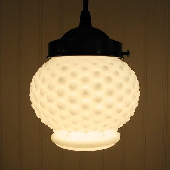 Vintage Milkglass Hobnail Globe PENDANT Light