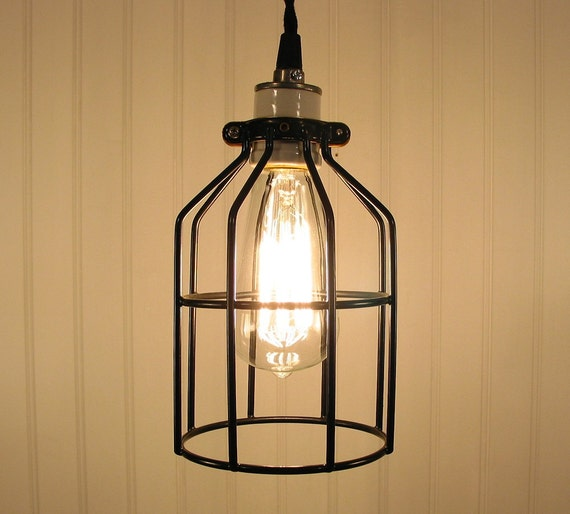 Industrial Cage PEN DANT Light with Edison Bulb Rustic Modern