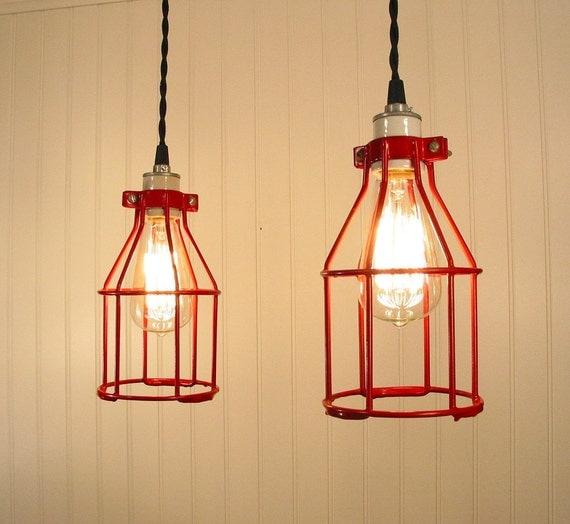 Urban Port. PAIR Vintage RED Industrial Cage PENDANT Lights