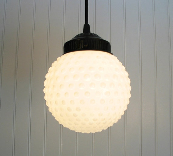 Camden. Vintage Milkglass Hobnail Globe PENDANT Light
