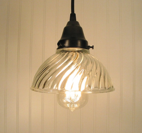 Cary's Mill Bay. Clear VINTAGE Holophane PENDANT Light with BULB