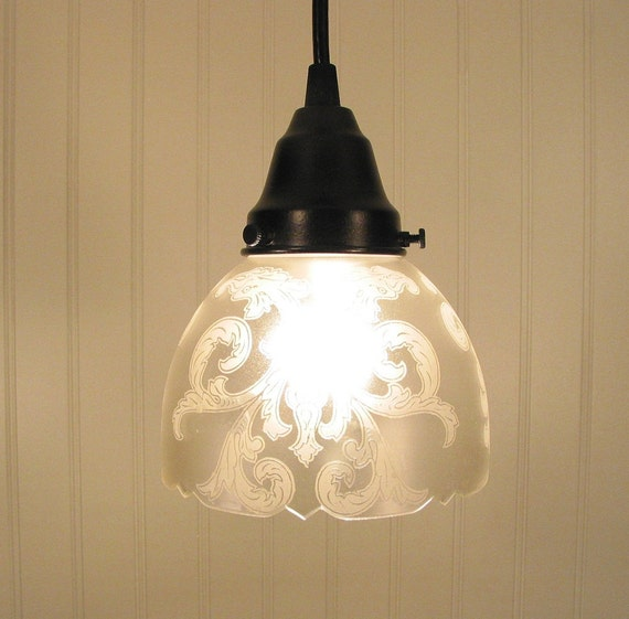 Camden. Vintage ARTS and CRAFTS Glass Shade PENDANT Light
