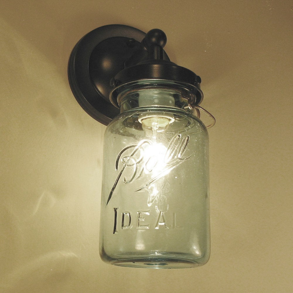 Vintage BLUE Canning Jar SCONCE Created NEW