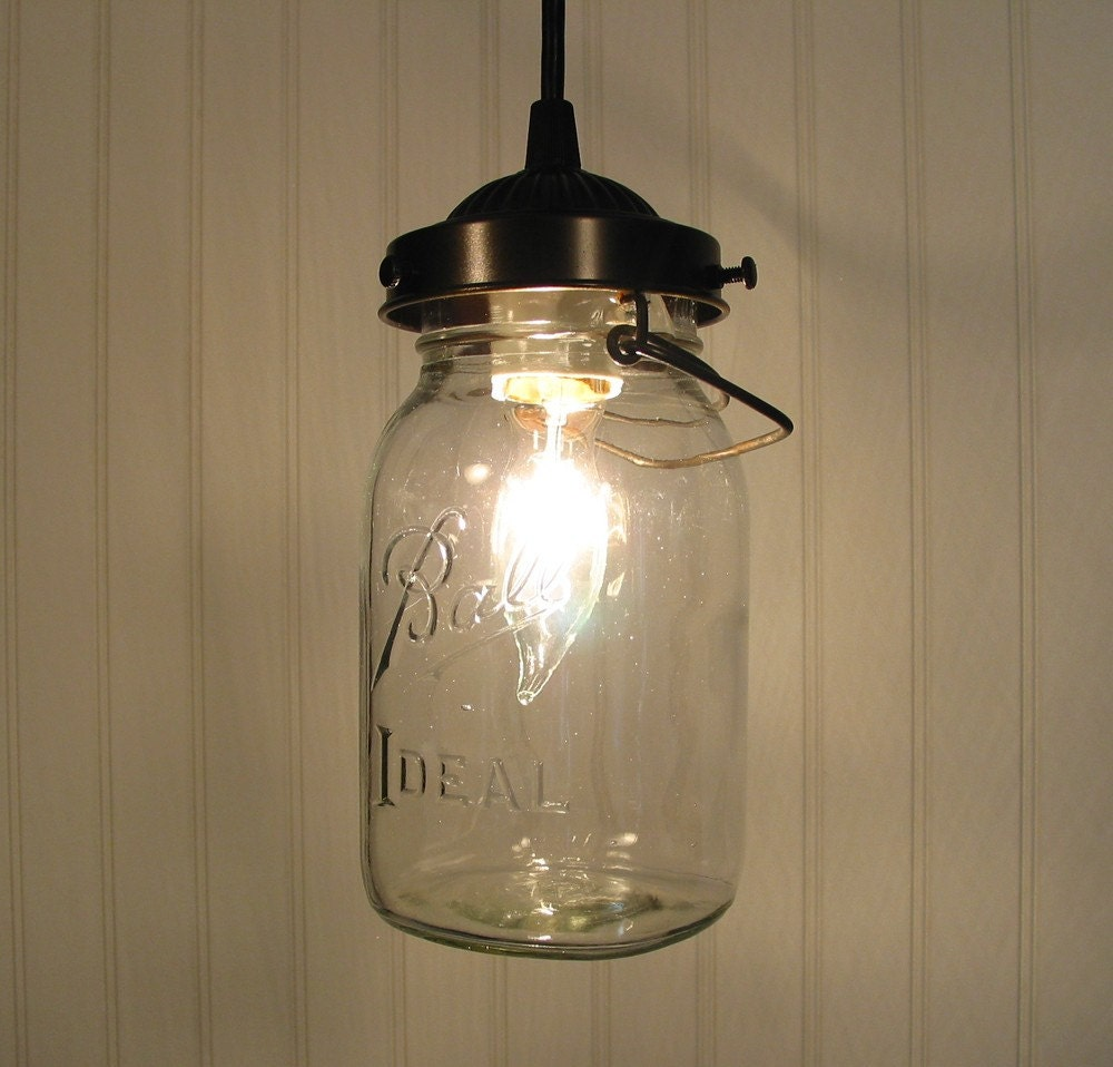Orono vintage ball canning jar pendant created new by for Hanging lights made from mason jars