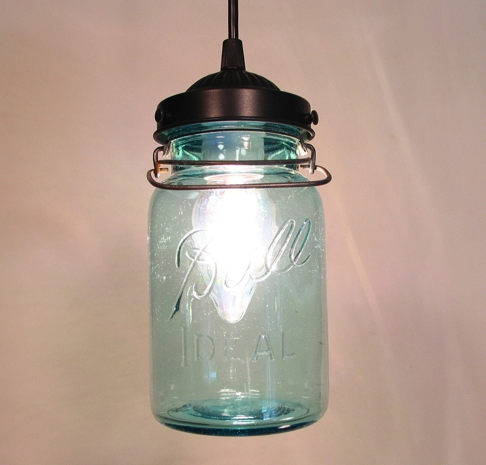 Vintage Blue Canning Jar Pendant Light By Lampgoods On Etsy