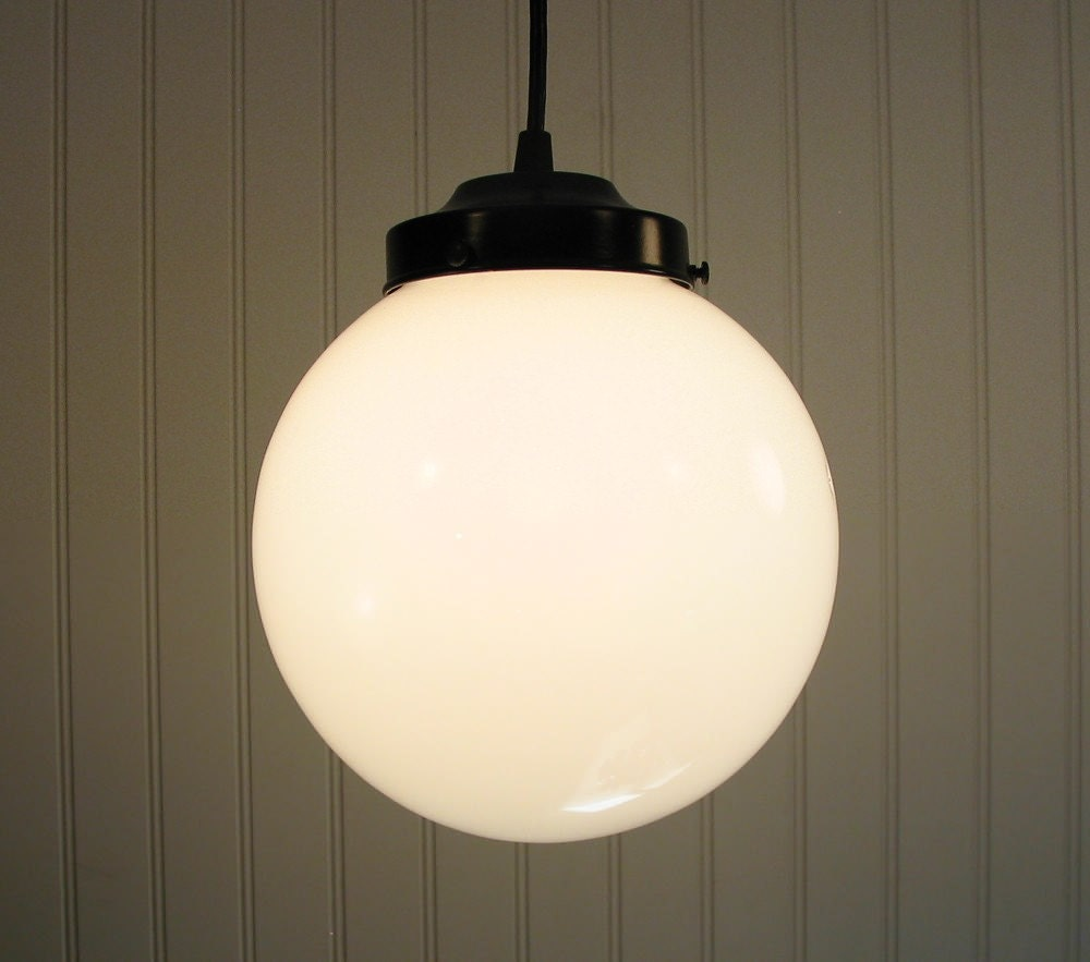 winterport 10 large milkglass globe pendant light. Black Bedroom Furniture Sets. Home Design Ideas