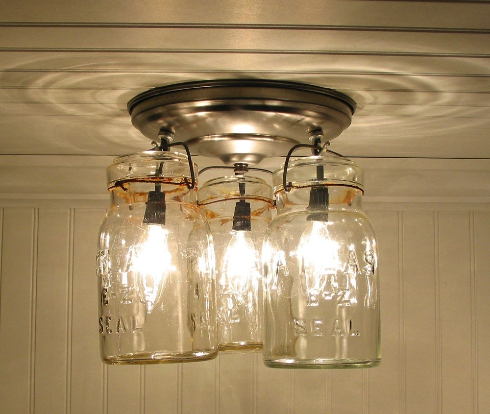 Vintage Canning Jar CEILING LIGHT By LampGoods On Etsy