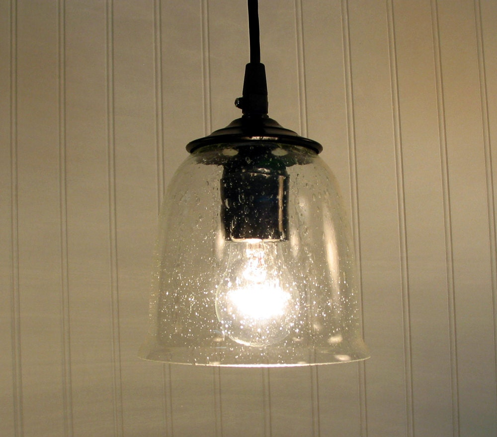 Hollis Seeded Pendant Light With Clear Bulb