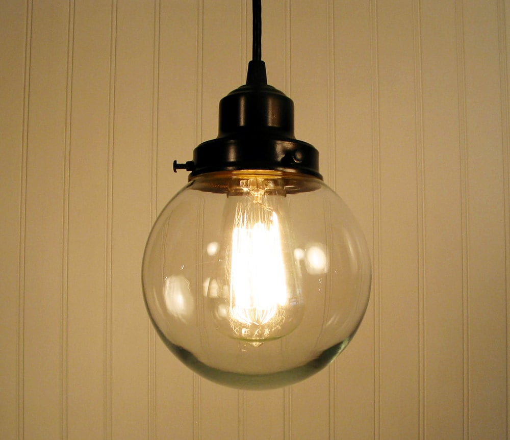 biddeford ii clear glass pendant light by lampgoods on etsy