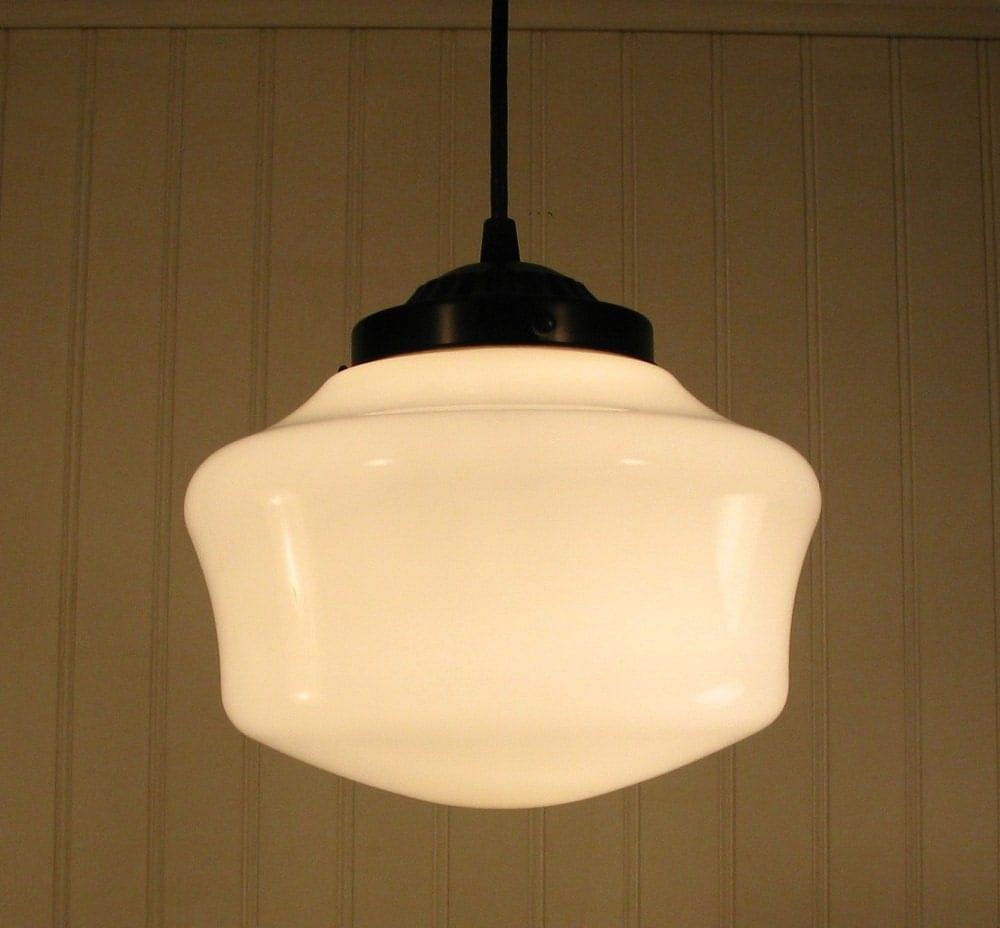 Schoolhouse Pendant Track Lighting: Urban Villa. Vintage Milkglass Schoolhouse PENDANT Light