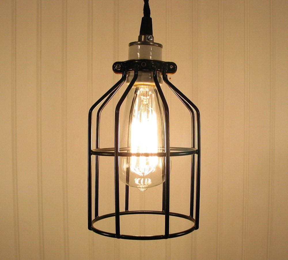 Industrial cage pendant light with edison bulb rustic modern for Industrial bulb pendant