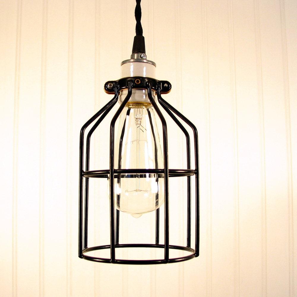 Industrial Edison Pendant Light: Industrial Cage PENDANT Light With Edison Bulb Rustic Modern