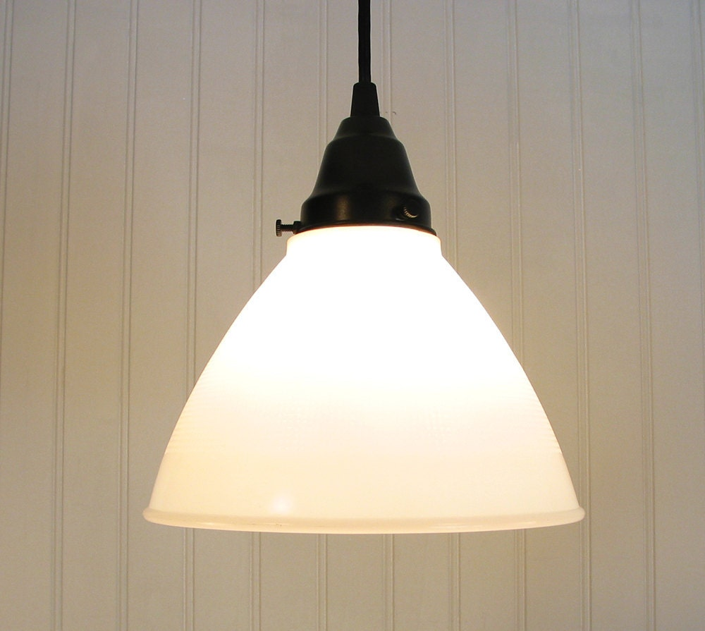 Vintage Milk Glass PENDANT Light With Vintage Shade