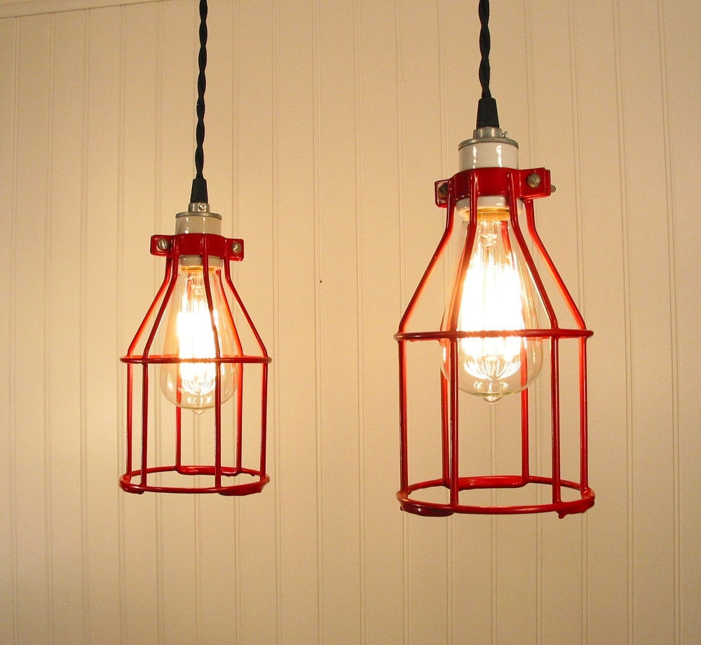 Urban Port. PAIR Vintage RED Industrial Cage PENDANT Lights