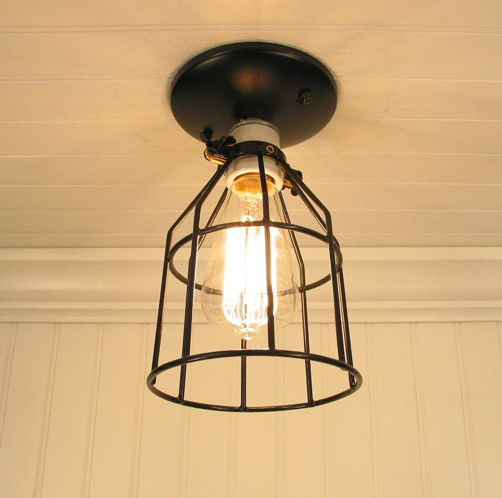 auburn port industrial cage ceiling light with edison bulb. Black Bedroom Furniture Sets. Home Design Ideas