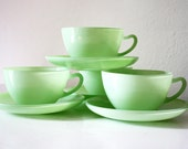 vintage mint tea cups and saucers, set of 5