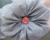 Gray Crepe Paper Flowers - Bright Pink Center - Set of 2