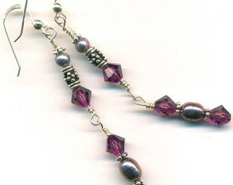 Earrings - Crystal and Pearl Dangles