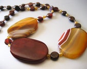 Red Eye / Red Orange Yellow Sardonyx, Garnet, and Czech Glass Necklace - One of a Kind