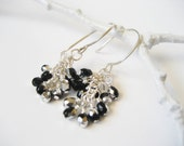 Black Crystal Cluster Dangle Earrings - Black and Silver Czech Glass Sterling Silver Cluster Earrings