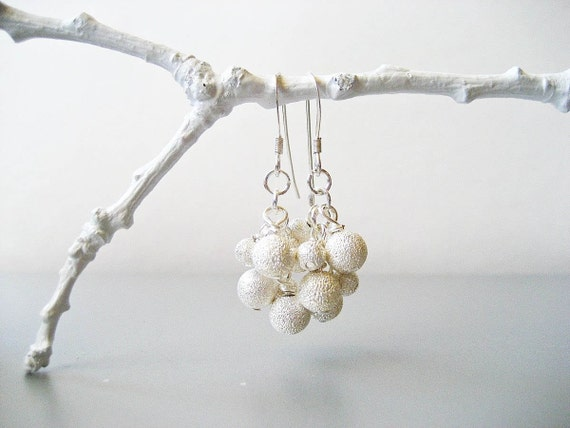 Snow Cluster Earrings -  Silver White Frosted Stardust Sterling Silver Snow Earrings