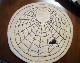 Primitive Halloween Spider Web Candle Mat