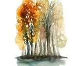 Autumn Forest -Landscape painting-Watercolor-Orange autumnal forest-Archival Print from my original watercolor painting 8x10 inch