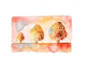 Three happy trees  Print  from my original watercolor painting 10x8 inch