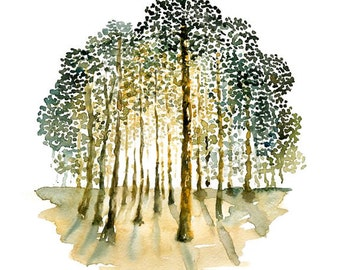 Forest Print-Landscape painting-Watercolor-Orange autumnal forest-Archival Large Print from my original watercolor painting 11x14 inch
