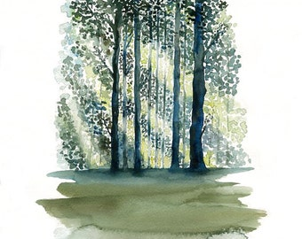 Green Forest-Landscape painting-Watercolor-Archival Print from my original watercolor  11x14 inch