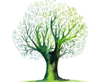 Green tree Print from my original watercolor painting 8x10 inch
