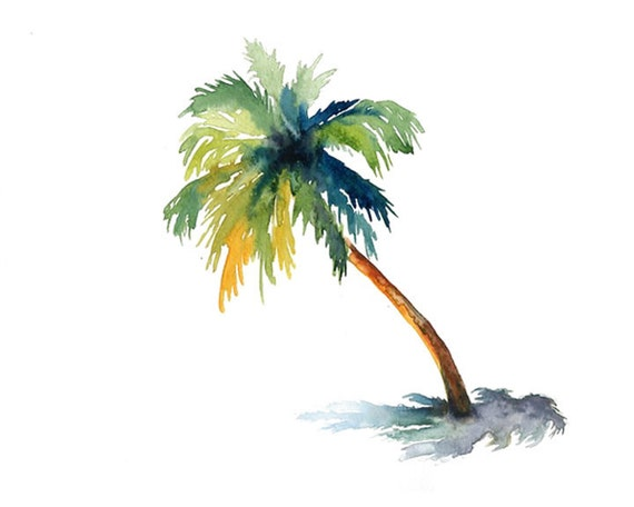 Palm Print from my original watercolor painting 10x8 inch