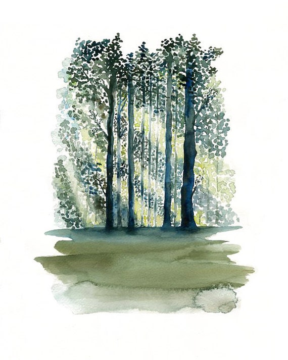 Green Forest-Landscape painting-Watercolor-Archival Print from my original watercolor  8x10 inch