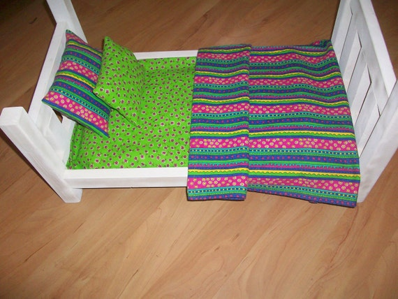 Doll Blanket and PIllow Set in Lime and Hot Pink Stripes for Fashion Dolls